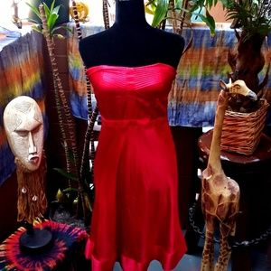 Red Silk Halter Top Dress